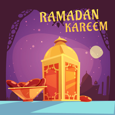 iftar: Color cartoon illustration with purple background depicting ramadan iftar kareem vector illustration Illustration