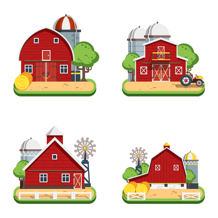 farmhouses: Farm isolated decorative icons set of wooden farmhouses with trees wind turbine tractor elevator flat vector illustration Illustration