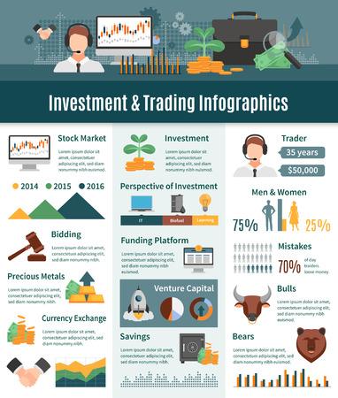 trader: Investment and trading infographics layout with trader statistics perspective areas of investment icons currency exchange information flat vector illustration
