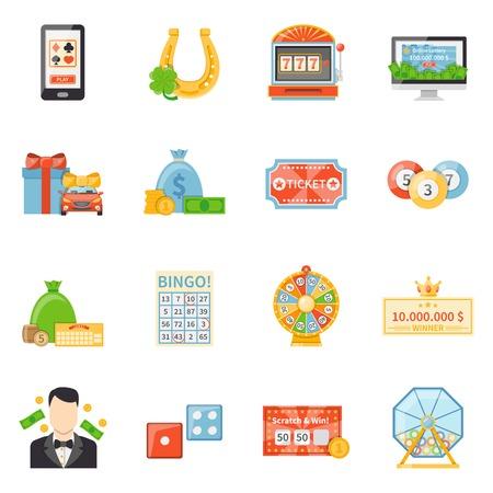 Loterij en jackpot decoratieve iconen met fortuin wiel winnaar ticket kraskaart loterij drum plat vector illustratie Stock Illustratie