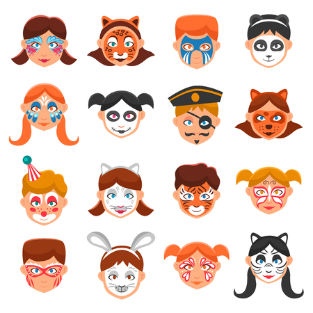 Face Paint For Children Icons Set. Painted Faces Vector Illustration. Greasepaint For Kids Flat Symbols. Makeup For Children Design Set. Painted Faces Isolated Set.