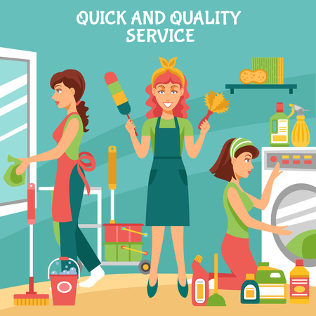 Cleaning background with quick and quality service symbols flat vector illustration