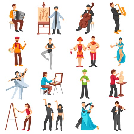 Kunstenaar mensen pictogrammen die met musici schilders en dansers vlakke geïsoleerde vector illustratie