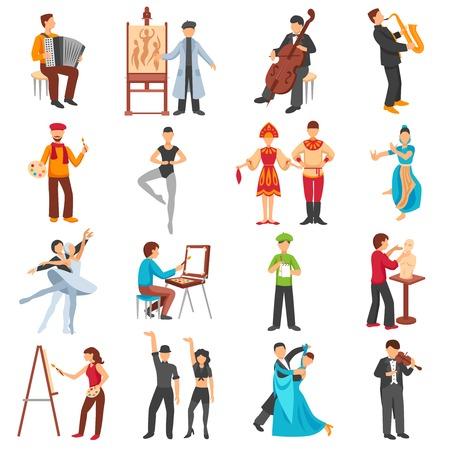 Kunstenaar mensen pictogrammen die met musici schilders en dansers vlakke geïsoleerde vector illustratie Stockfoto - 58963389