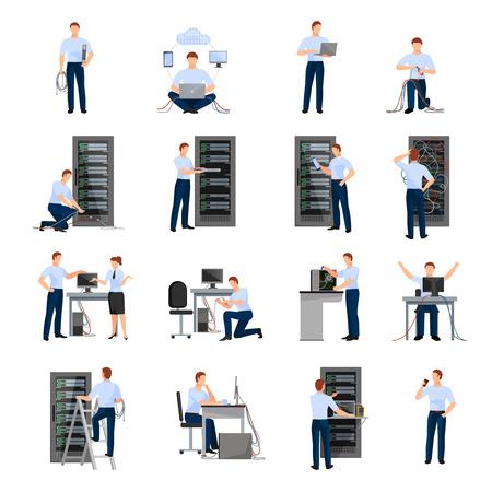 Administrator systemu płaskie ikony zestaw szaf serwerowych i sieciowych inżynierów zaangażowanych w utrzymanie modułów systemu izolowane ilustracji wektorowych