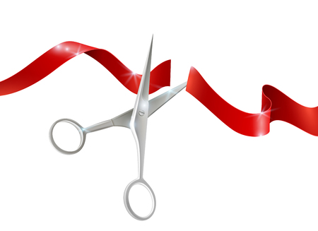 Metal scissors for cutting and red silk  ribbon realistic vector illustration