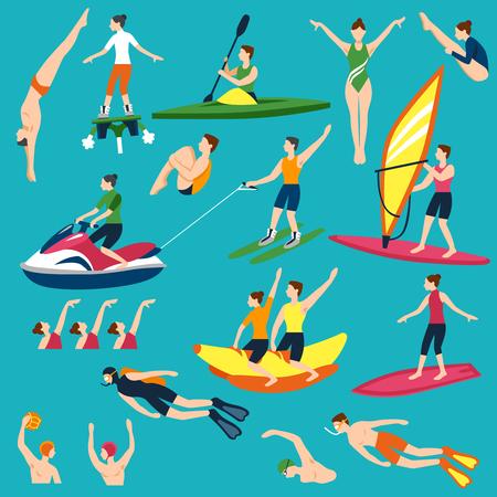 water polo: Actividades acuáticas conjunto de iconos. Ilustración vectorial de agua del deporte. Conjunto decorativo de agua del deporte. Deportes acuáticos y la actividad del diseño. Water Sport plana Conjunto aislado. Vectores