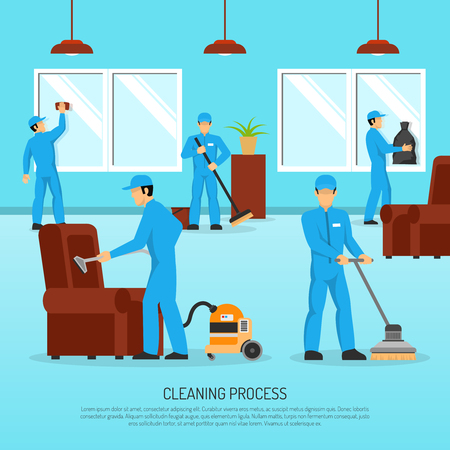 cleaning team: Industrial cleaning and maintain company service team at work in warehouse facility flat poster abstract vector illustration