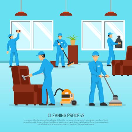 limpieza industrial y mantenimiento de equipo de servicio de la compañía en el trabajo en el plano del cartel ilustración abstracta de instalaciones de almacén