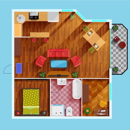 balcony view: One bedroom apartment floor Plan with kitchen dinning area balcony bathroom and rooms for study and leisure flat vector illustration