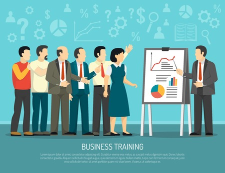 employee development: Business development training course for company employees flat poster with diagrams and graphics presentation abstract vector illustration