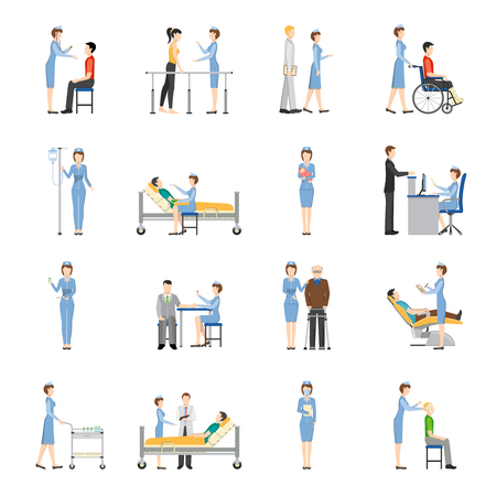 needing: Nurse health care decorative icons set with young and old patients needing in medical help and nurses producing treatment procedures flat vector illustration