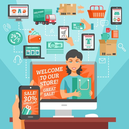home shopping: E-commerce with online shopping and home delivery symbols flat vector illustration