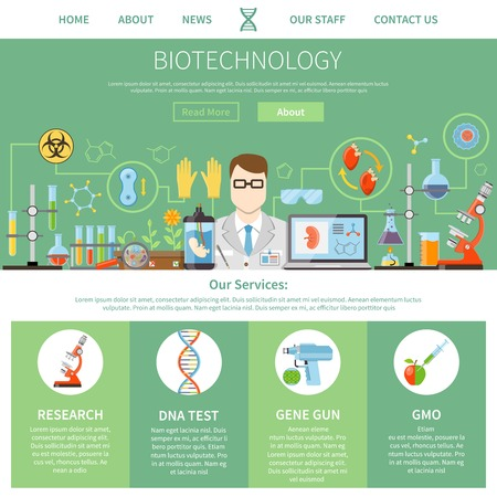 laboratory research: Biotechnology and genetics one page advertising template for website with description of modern innovative technologies  and manager contact information flat vector illustration