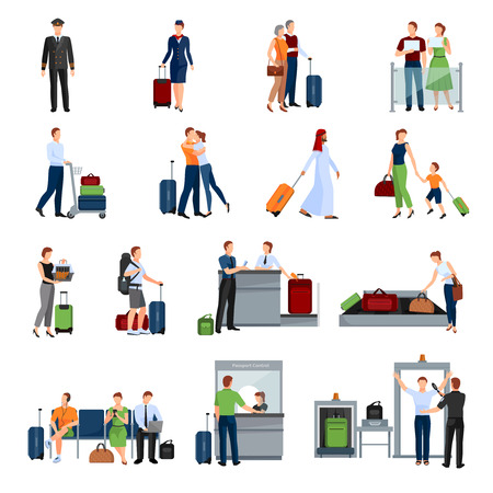 baggage: People in airport flat color icons set of pilot stewardess tourists with travel bags at checkpoint and security screening isolated vector illustration