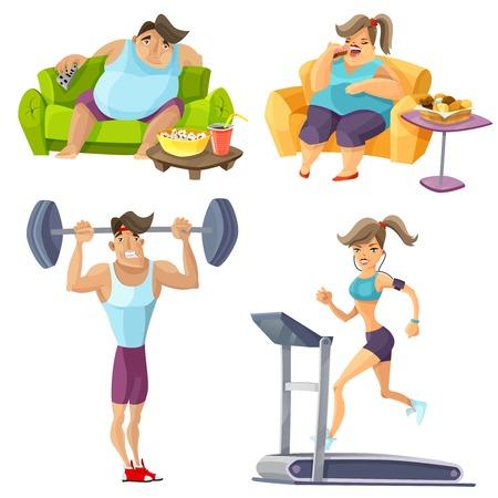Obesitas en gezondheid cartoon set met voedsel fitness en geïsoleerde levensstijl vector illustratie Stockfoto - 58962997
