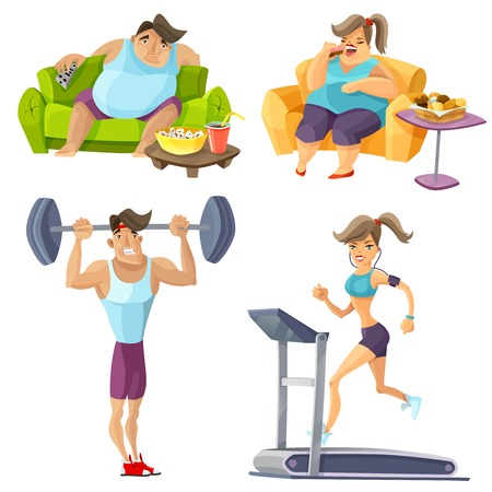 sedentary: Obesity and health cartoon set with food fitness and lifestyle isolated vector illustration