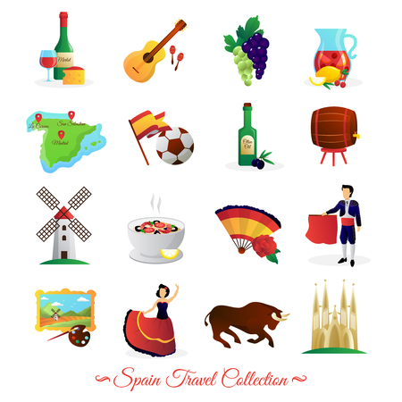 barcelona spain: Tourists attractions in spain and national cultural symbols wine and food flat icons collection abstract vector isolated illustration