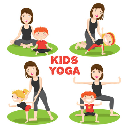 asanas: Little Kids first yoga asanas poses outdoor on grass with mother 4 cartoon icons isolated vector illustration Illustration