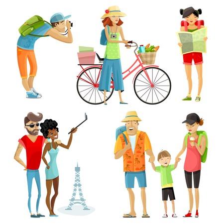 personas que viajan de dibujos animados conjunto con turismo y símbolos de descanso aislado ilustración vectorial
