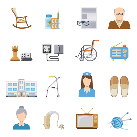 'nursing home': Elderly care in nursing home decorative icons set of wheelchair crutch tonometer medication board games isolated elements flat vector illustration