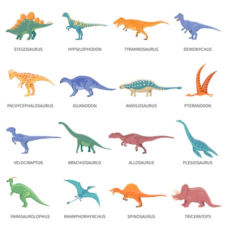 Colored isolated icons set of different types of dinosaurs in cartoon style with name of class or kind flat vector illustration
