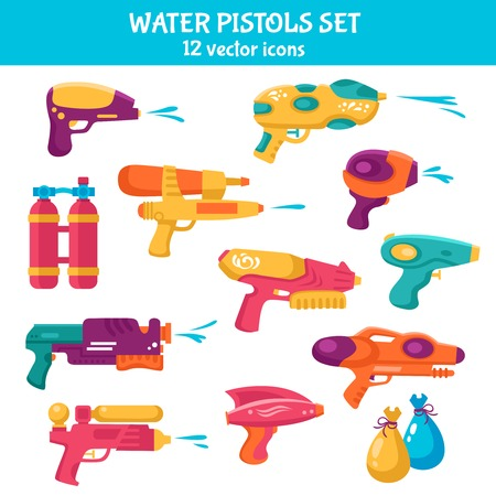 Water guns flat set for water fights isolated vector illustration