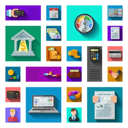 borrower: Credit rating flat shadow icons in isolated colorful squares with pocketbook credit card currency bank employees credit score diagrams flat vector illustration