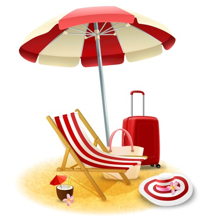deck chair: Beach deck chair and umbrella with suitcase and cocktail cartoon vector illustration