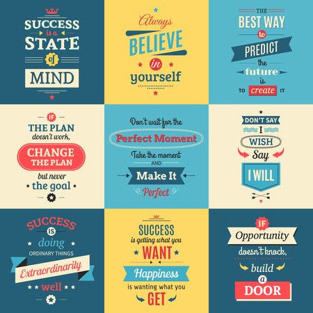 parting: Success quotes colored isolated posters in retro style with parting words and teachings flat vector illustration Illustration