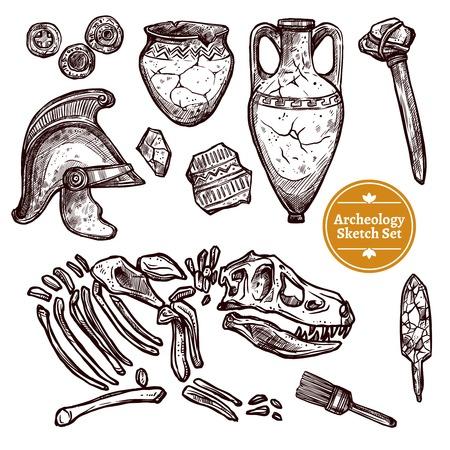 Archeologie hand getekende schets set van paleontologische en archeologische vondsten oude geïsoleerde vector illustratie Vector Illustratie