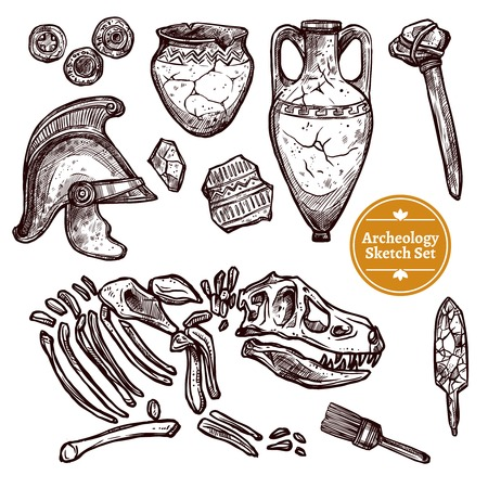 archaeological: Archeology hand drawn sketch set of paleontological and archaeological ancient finds isolated vector illustration