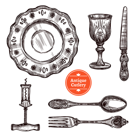 old style: Hand drawn antique silver cutlery set with vintage spoon fork plate glass and knife isolated vector illustration