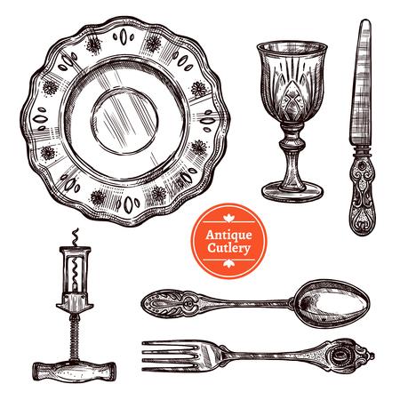 Hand gezeichnete antike Silberbesteck mit Vintage Löffel, Gabel, Teller Glas und Messer isoliert Vektor-Illustration gesetzt Illustration