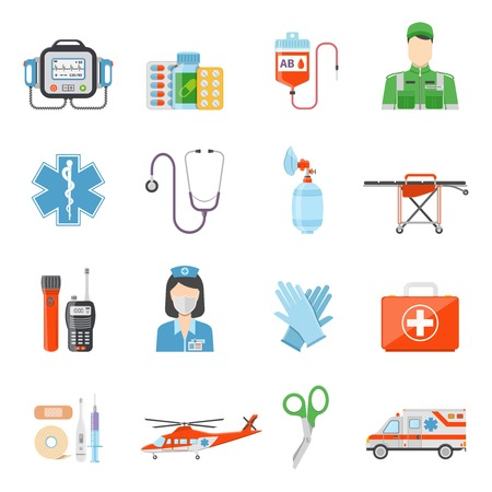 handcart: Paramedic flat colored decorative icons set with  medicine chest device for pressure measuring handcart on wheels isolated vector illustration Illustration