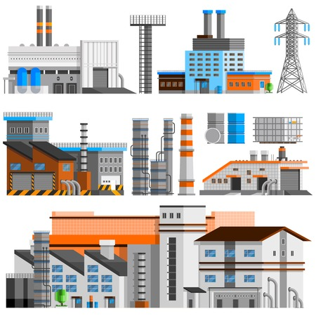 orthogonal: Industrial buildings orthogonal set with pipes flat isolated vector illustration Illustration