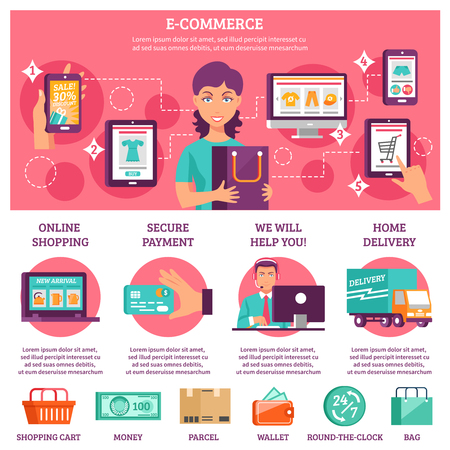 ecommerce: E-commerce infographic flat set with payment and delivery symbols vector illustration Illustration