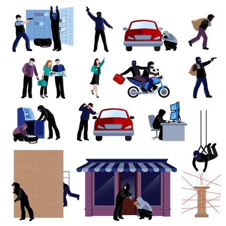 Gewapende inbrekers het plegen van misdaden vlakke pictogrammen instellen op een witte achtergrond geïsoleerde vector illustratie