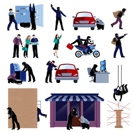 Armed burglars committing crimes flat icons set on white background isolated vector illustration Illustration