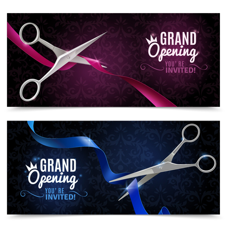 metal cutting: Grand opening realistic horizontal banners set with scissors and ribbon isolated vector illustration Illustration