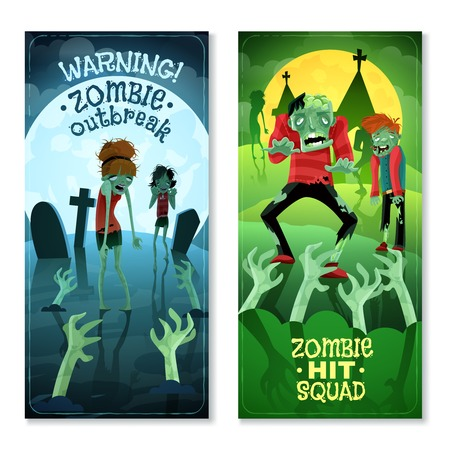 squad: Zombie vertical cartoon banners set with zombie squad symbols isolated vector illustration