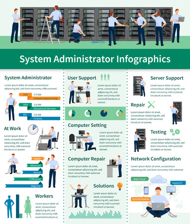 datacenter: System administrator infographics flat layout with information about server support computer repair and network configuration vector illustration Illustration