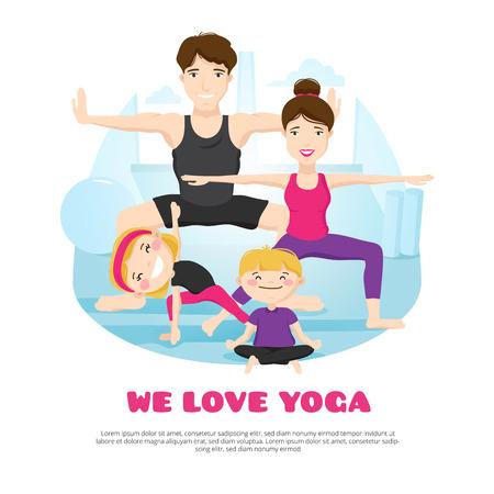 Nous aimons le yoga affiche du centre de bien-être avec les jeunes asanas famille pratiquant et pose ensemble bande dessinée abstraite illustration vectorielle
