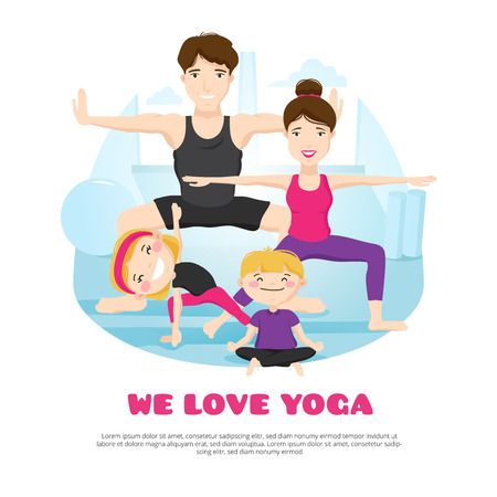 cartoon dad: We love yoga wellness center poster with young family practicing asanas and poses together cartoon abstract vector illustration Illustration