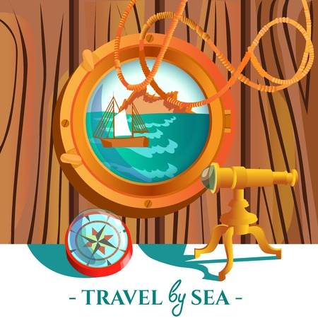 navigating: Travel by sea nautical poster of sea with rock and sailboat in porthole compass and spyglass vector illustration Illustration