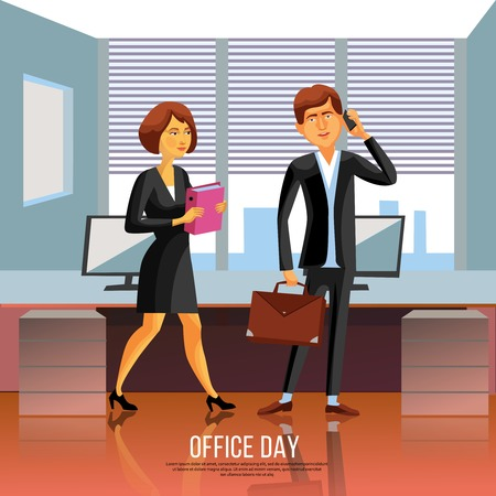 busy city: Cartoon style poster of business man and woman in black suit and dress in office vector illustration