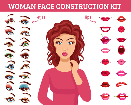 gloss: Woman face construction kit with eyes and lips makeup flat vector illustration