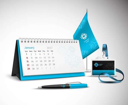 identity: Calendar pen flag and badge corporate identity mockup set of blue color for your design on light background realistic vector illustration