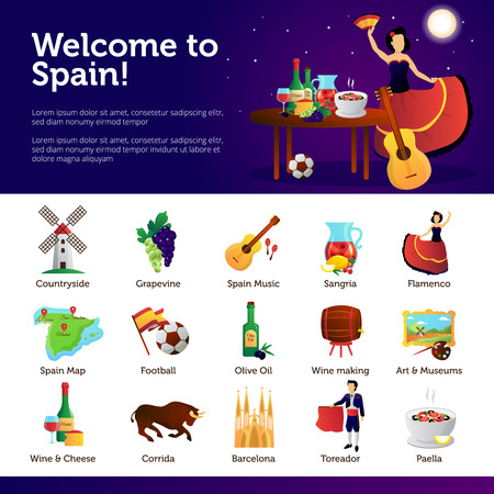 sangria: Spain information for tourists on main cultural national attractions food and sightseeing infographic symbols banners vector illustration