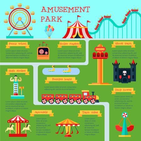 family park: Amusement park infographic set with family fun symbols flat vector illustration